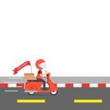 O serviço da motocicleta do passeio da entrega, pede o transporte mundial, rápido Imagem de Stock