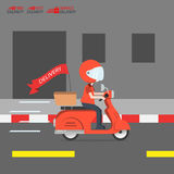 O serviço da motocicleta do passeio da entrega, pede o transporte mundial, transporta-o rapidamente e livre, alimento expresso, d Fotografia de Stock Royalty Free