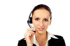 O serviço de atenção a o cliente fêmea isolou-se Imagens de Stock Royalty Free