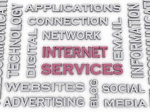 o serviço de Internet da imagem 3d emite o fundo da nuvem da palavra do conceito Fotografia de Stock