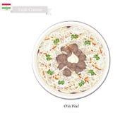 O'sh肉饭或塔吉克米用肉和菜 库存图片
