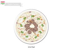 O'sh Pilaf or Tajik Rice with Meat and Vegetables Stock Image