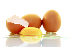 O shell de um ovo, o ovo, gema, isolada no fundo branco Fotos de Stock Royalty Free