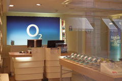 O2 shop. Big logo in a german O2 shop - focus is on the logo, copy space to the right Stock Images