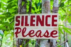 O silêncio assina por favor Fotografia de Stock Royalty Free