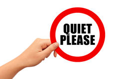 O silêncio assina por favor ilustração do vetor