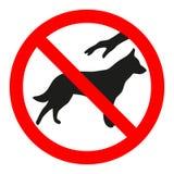 O sinal é proibido tocar no cão em um círculo cruzado vermelho da saída Símbolo do animal, natureza, aviso, animal de estimação ilustração do vetor