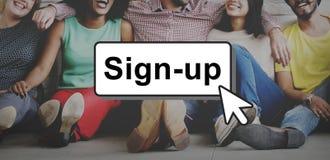 O sinal-Acima junta-se ao conceito do usuário da página da rede do membro do início de uma sessão Imagens de Stock