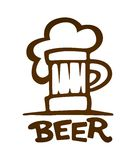 O sinal da caneca com cerveja contorna a silhueta Imagens de Stock Royalty Free