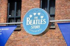 O sinal da história de Beatles, Liverpool Fotos de Stock