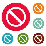 O sinal da proibição ou nenhum ícone do sinal circundam o grupo Imagem de Stock