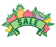 O sinal da venda do verão na fita com fruto, bagas e verde sae sem o fundo, o pé de página do disconto e a bandeira fotografia de stock royalty free