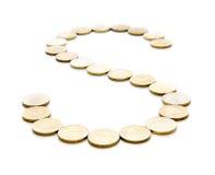 O sinal das moedas Imagem de Stock