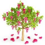 O sinal das perguntas cresce em uma árvore Foto de Stock Royalty Free