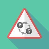 O sinal de aviso longo da sombra com uma troca da rupia e de dólar assina ilustração do vetor
