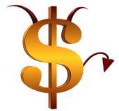 O sinal de dólar do diabo Fotos de Stock