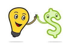 O sinal de dólar e a mão da ampola tocam-se em cooperação Foto de Stock