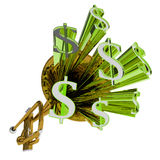 O sinal de dólar significa a moeda e as finanças do dinheiro ilustração do vetor