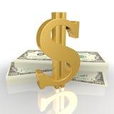 O sinal de dólar, e wads do dinheiro Imagem de Stock Royalty Free