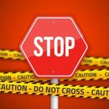 O sinal de estrada da parada do vetor com cuidado amarelo não cruza a polícia Li Imagem de Stock Royalty Free