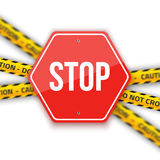 O sinal de estrada da parada do vetor isolado em um fundo branco com não faz Imagem de Stock Royalty Free