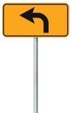 O sinal de estrada da rota da curva à esquerda adiante, amarela o signage isolado do tráfego da borda da estrada, este ponteiro d Fotografia de Stock