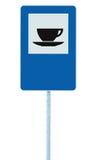 O sinal de estrada do restaurante no roadsign do tráfego do polo do cargo, azul isolou o serviço do copo de chá do café da restau Imagem de Stock
