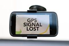 O sinal de GPS perdeu o tipo em um telefone esperto de GPS fotografia de stock royalty free