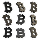 O sinal de moeda de Bitcoin rende Fotografia de Stock
