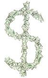 O sinal de moeda $ do dólar deu forma com notas de banco dos usd Imagem de Stock