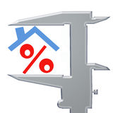 O sinal de por cento sob o telhado e o calibre Fotos de Stock