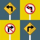 o sinal de tráfego ajustado, não gerencie a volta deixada, direita adiante ilustração stock