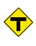 O sinal de tráfego de três interseções Fotografia de Stock Royalty Free
