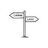 O sinal dirige o ícone, sinal de acampamento Foto de Stock