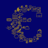 o sinal do ¬ do 'do â feito de ícones da finança e da operação bancária armazena o vetor Imagens de Stock Royalty Free