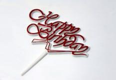 O sinal do feliz aniversario, pino para decora o bolo, texto vermelho imagens de stock royalty free