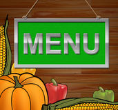 O sinal do menu indica o cartaz e o jantar da propaganda ilustração royalty free