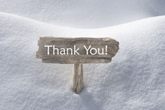 O sinal do Natal com neve e o texto agradecem-lhe Fotografia de Stock Royalty Free