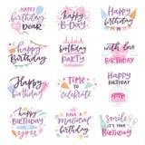 O sinal do texto do aniversário das citações do feliz aniversario caçoa o tipo da rotulação do nascimento com letras da caligrafi ilustração stock