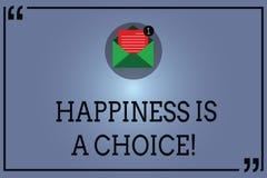 O sinal do texto que mostra a felicidade é uma escolha Motivado inspirado alegre feliz da estada conceptual da foto todo o tempo  ilustração royalty free