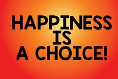 O sinal do texto que mostra a felicidade é uma escolha Placa motivado inspirada alegre feliz da estada conceptual da foto todo o  ilustração royalty free