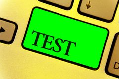 O sinal do texto que mostra a teste a foto conceptual procedimento sistemático acadêmico avalia o fim da proficiência da durabili fotos de stock royalty free