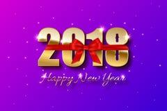 o sinal 2018 dourado e o ano novo feliz text no fundo do feriado Molde do cartão do ano novo do vetor ilustração stock