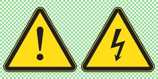 O sinal e o perigo de alta tensão assinam, símbolo do triângulo do perigo, sinal de aviso ilustração royalty free