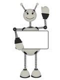 O sinal em branco do anúncio das preensões cinzentas do robô sorri ondas Fotos de Stock Royalty Free