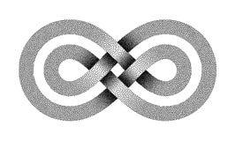O sinal ilimitado pontilhado fez de duas linhas cruzadas Símbolo da tira da infinidade Ilustração do vetor ilustração stock