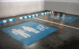 O sinal internacional para a família e um estacionamento deficiente stal imagem de stock royalty free