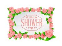 o sinal nupcial da placa das rosas do chuveiro alinha o fundo Fotografia de Stock
