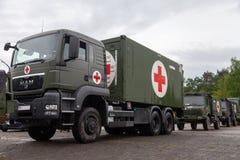 O sistema alemão do centro do salvamento em caminhões está na placa Imagens de Stock Royalty Free