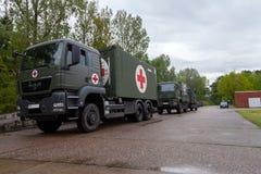 O sistema alemão do centro do salvamento em caminhões está na placa Foto de Stock